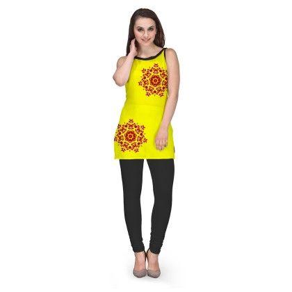 Digital Printed Yellow Georgette Kurti - Avya