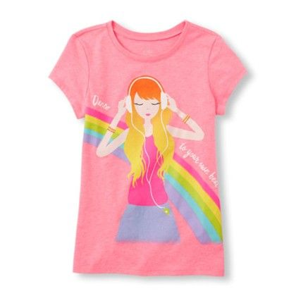 Girls Short Sleeve Rainbow Fashion Girl Graphic Tee - The Children's Place