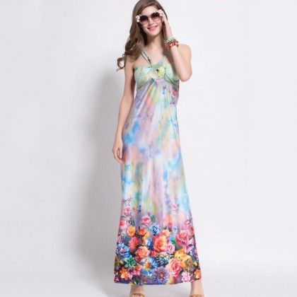 Multi-colour Floral Print Dress - Dell's World