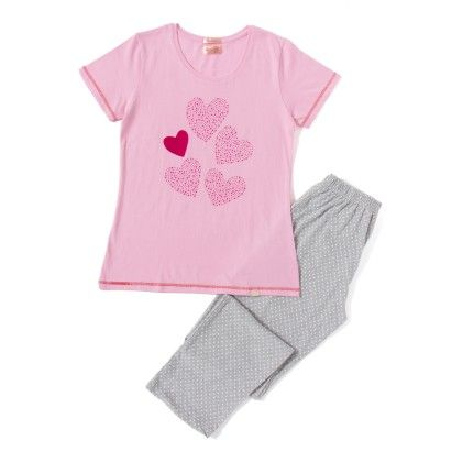 Heart Printed Pink Top With Grey Dotted Full Pyjama Set - Sheer Love