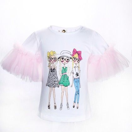 White And Pink Girls Print Frilled Sleeves Top - Isabella By Princess