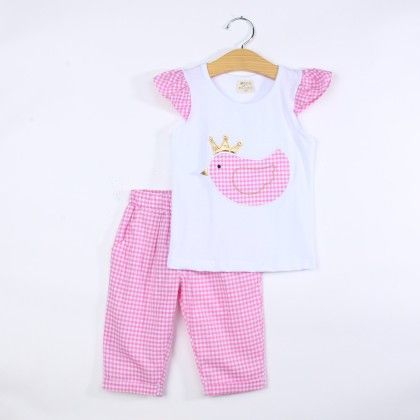 Cute Bird Print Top And Pant Set - Pink - Jumping Baby