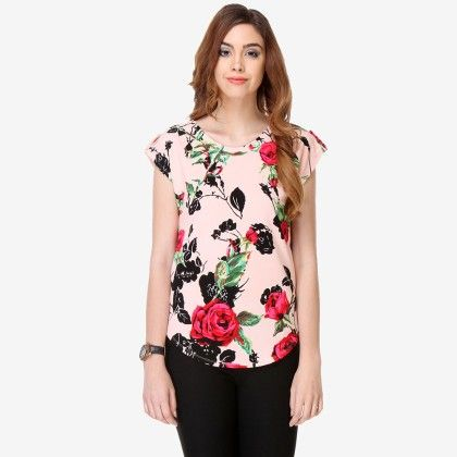 Multi Colored Crepe Printed Top - Varanga - 325726