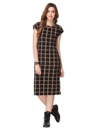 Black Printed Cotton Dress - Varanga