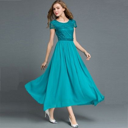 Long Maxi Dress Evening Party Beach - Blue - STUPA FASHION