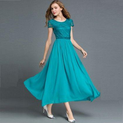 Long Maxi Dress Evening Party Beach - Blue - STUPA FASHION