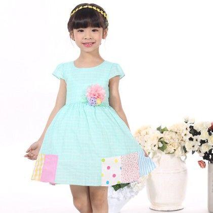 Blue Stripes Floral Applique Dress - Gold Bean