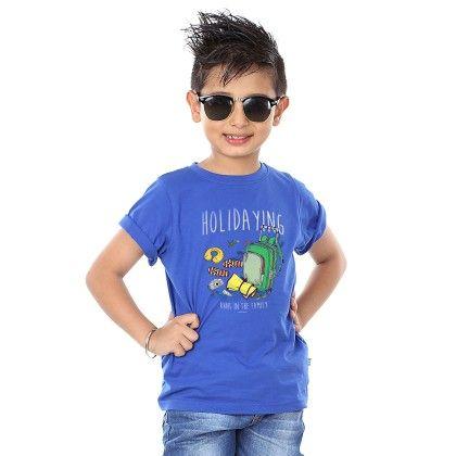 Boy's Holidaying Print Royal Blue T-shirt - BonOrganik