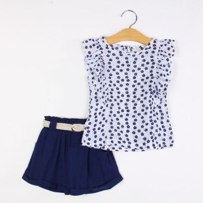 Beautiful Ruffle Top And Shorts Set - Blue - Daisy