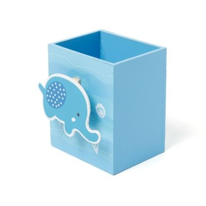Blue Wooden Pen Stand - Sale Zone