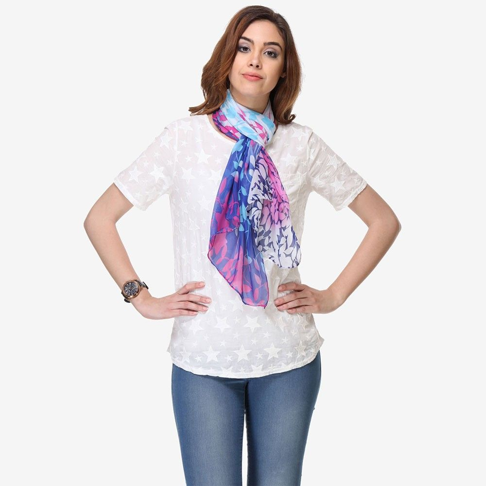 Multi Colored Chiffon Printed Scarf - Varanga