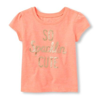 Peach Girls Short Sleeve So Sparklin Cute Graphic Tee - The Children's Place