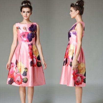 Vestidos Vintage Woman Pleated Dress - Pink - STUPA FASHION