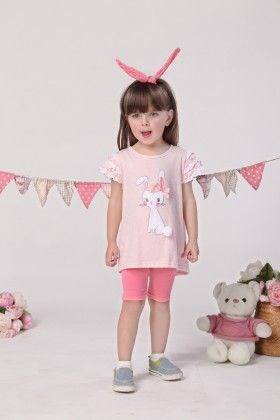 Cute Cat Print Top And Shorts Set - Mimiwinga