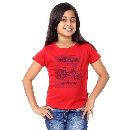 Girl's Wonderlust Print Red T-shirt - BonOrganik