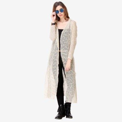 Multi Colored Mesh / Lace Solid Shrug - Varanga - 325755
