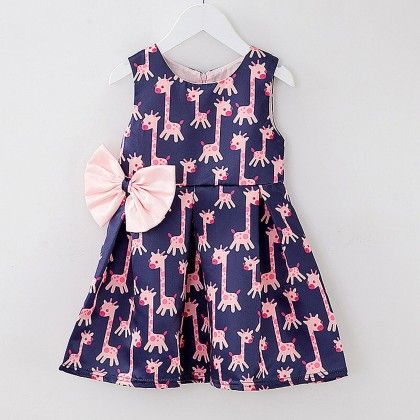 Flamingo Print Blue Frock - Lil Mantra