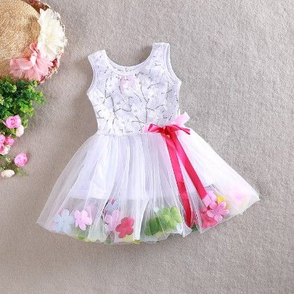 Party Dress With Lace And Flower - White - Love Baby