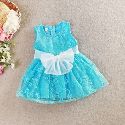 Party Dress With Bow - Blue - Love Baby