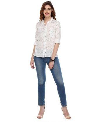 Printed Cotton Shirts White - Varanga