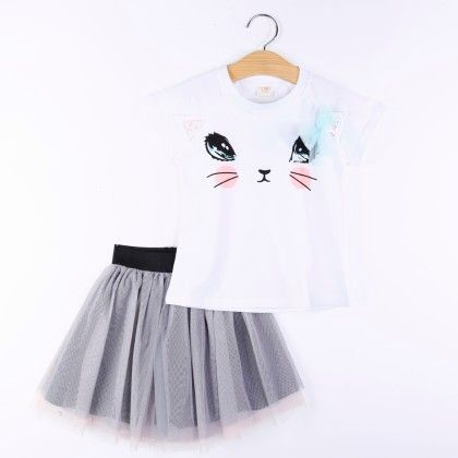 White Kitty Print Top And Skirt Set
