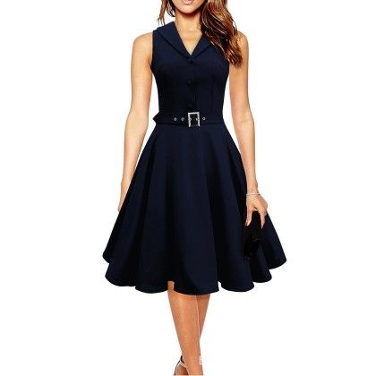 Elegant Dress Sleeveless Party Dress - Navy Blue - STUPA FASHION