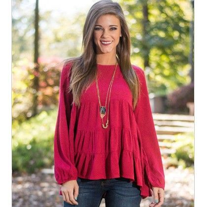 Red Color Casual Tops - STUPA FASHION