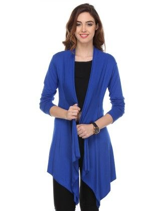 Solid Cotton Royal Blue Shrug - Varanga