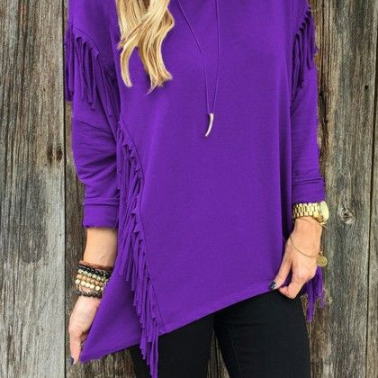 Casual Tassel Purle Color Top - STUPA FASHION