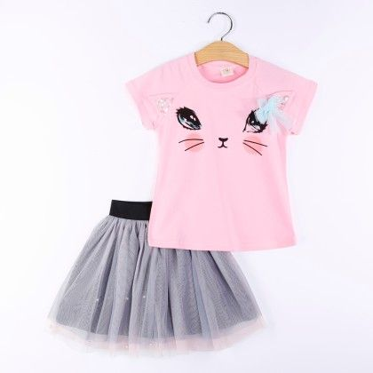 Pink Kitty Print Top And Skirt Set - H