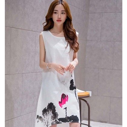 White Floral Print Sleevless Dress - Dell's World