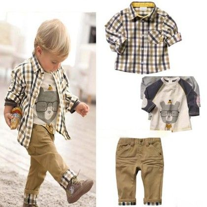 Cute Checked Shirt With T-shirt And Pant Set - Brown - MeiQ