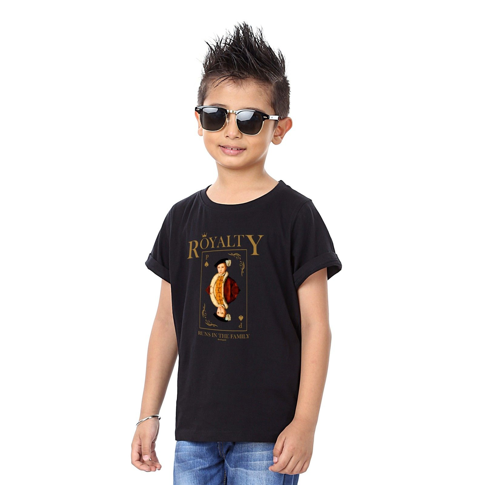 Boy's Royalty Print Black T-shirt - BonOrganik