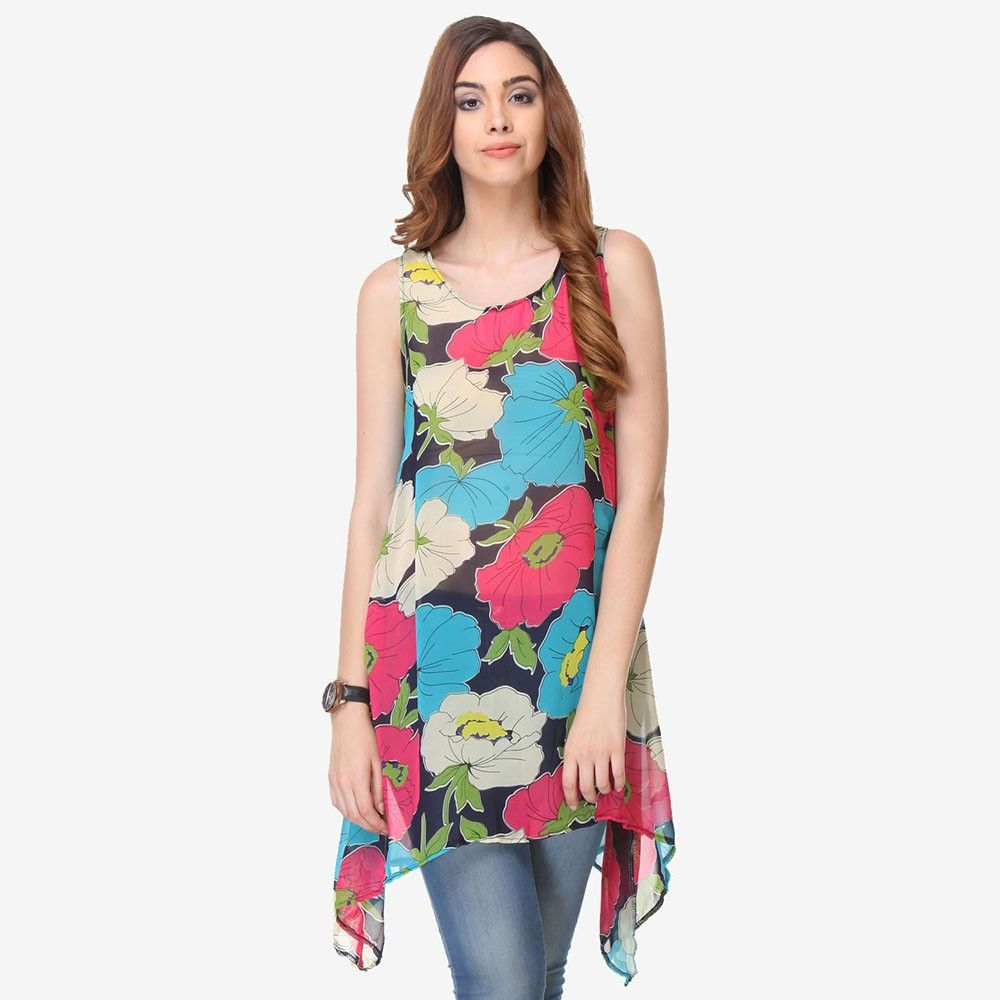 Multi Colored Chiffon Printed Tunic - Varanga