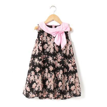 Black-pink Ggt Print Dress With Neck Bow - VIA ITALIA