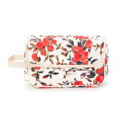 Floral Print Vanity Pouch White - Shanaaya Collection