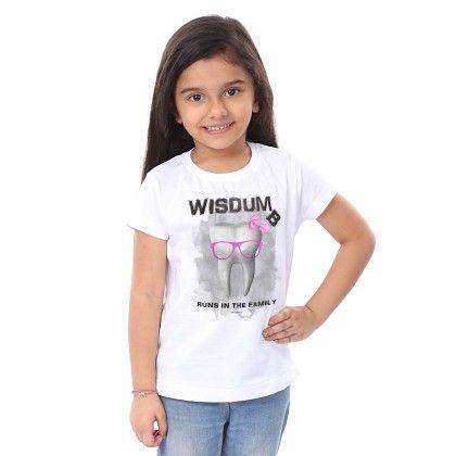 Girl's Wisdum Print White T-shirt - BonOrganik