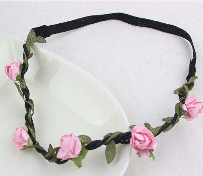 Five Flower Tiara Tie Pink Head Band - Flaunt Chic