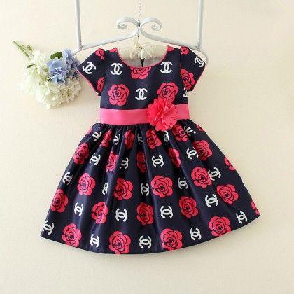 Navy Floral Printed Party Wear Dress - Petite Kids