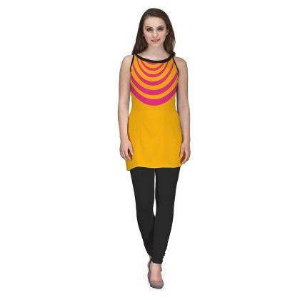 Digitally Printed Yellow Color Georgette Kurti - Avya