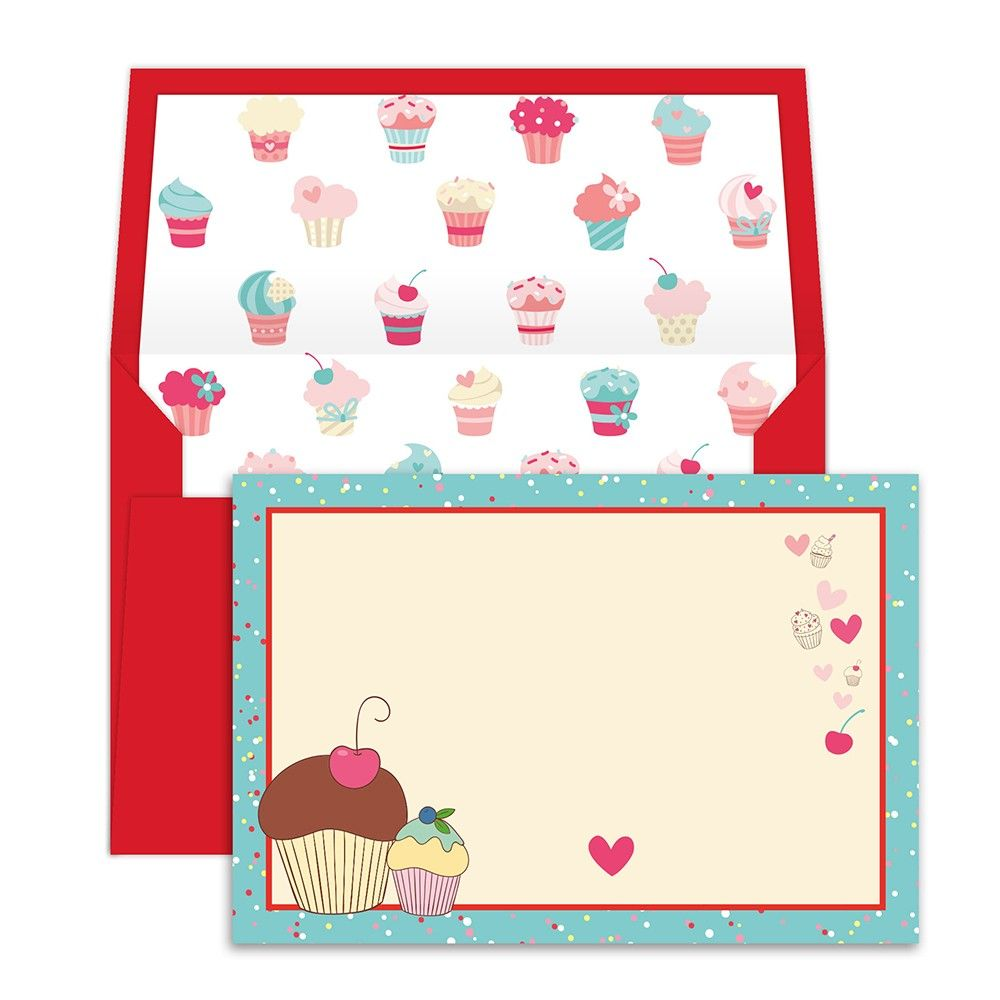 Notecards With Envelope Cupcake - Dots & Doodles