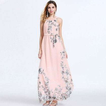 Pink Bohemian Chiffon Floral Print Off-shoulder Dress - Dell's World