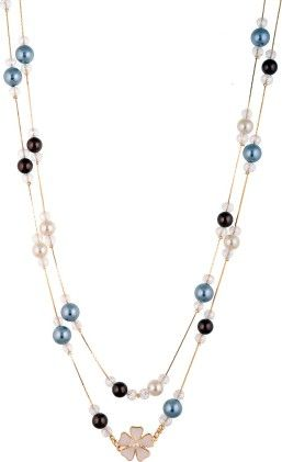 Multicoloured Floral Pearl Necklace - Coco House
