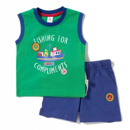 Little Pirate Printed Tee & Short Set- Green - TOFFYHOUSE