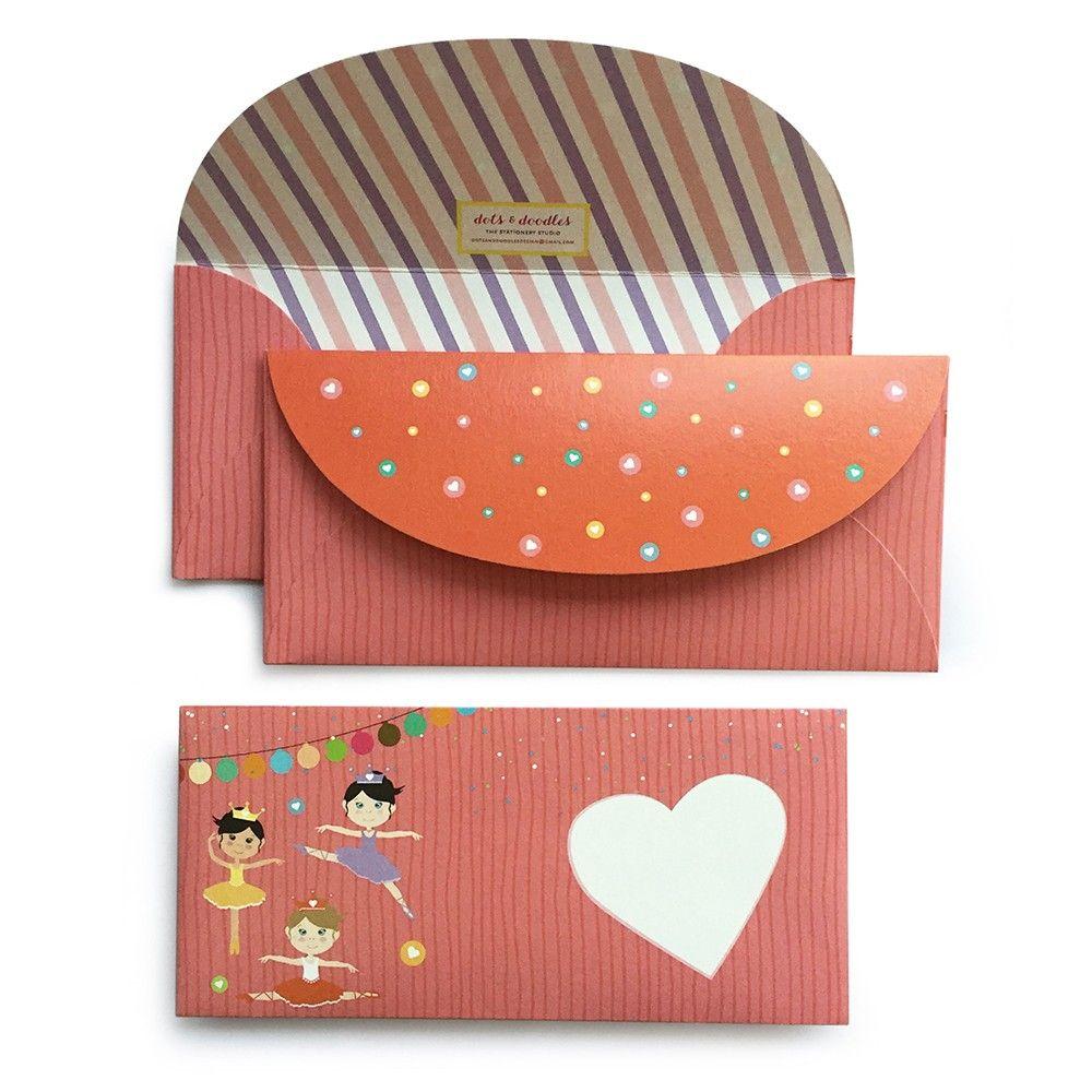 Ballerina Envelope - Dots & Doodles