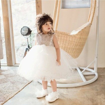 White And Gold Lace Party Dress - Petite Kids