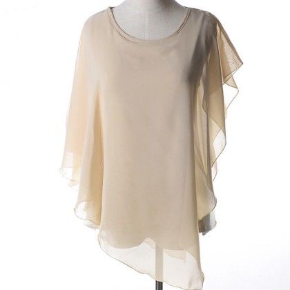 Beige Batwing Flair Top - Dell's World