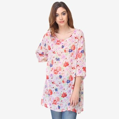 Multi Colored Chiffon Printed Tunic - Varanga - 325740