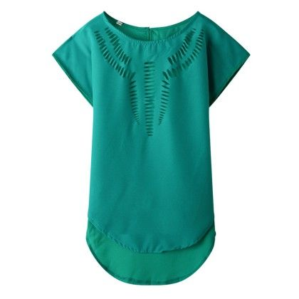 Green Cut-work Top - Dell's World