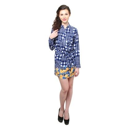 Xny Floral Border Check Print Shirt Dress